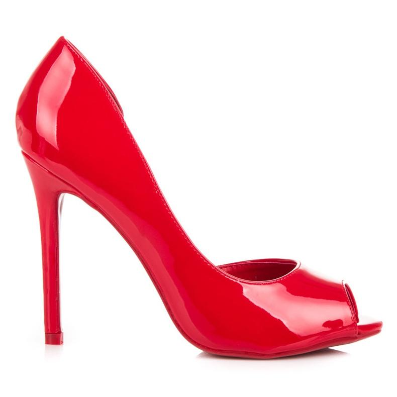 Seastar Lakierowane szpilki open toe czerwone