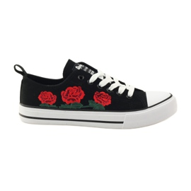 American Club Trampki haftowane róże American 17035 czerwone czarne białe