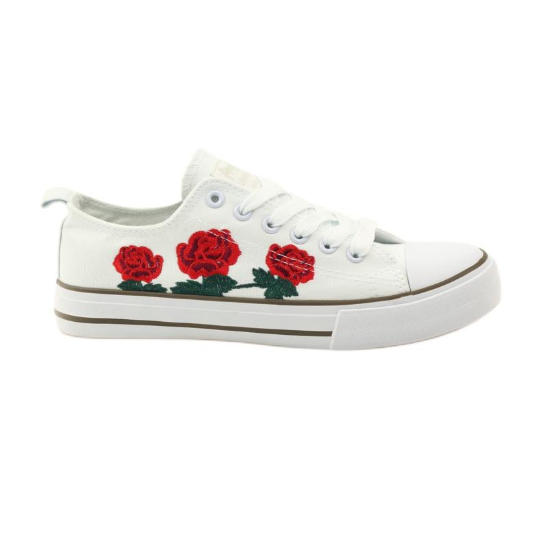 American Club Trampki haftowane róże American 17035 czerwone białe