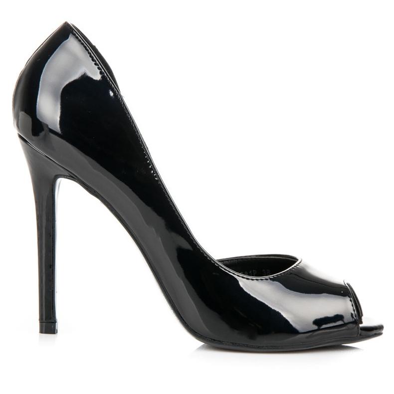 Seastar Lakierowane szpilki open toe czarne