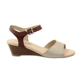 Brązowe Caprice buty damskie sandały skórzane 28213