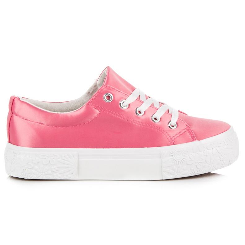 Kylie Satynowe Trampki Na Platformie różowe