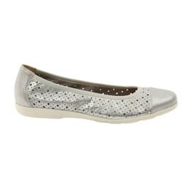 Szare Caprice buty damskie balerinki 22151 skóra