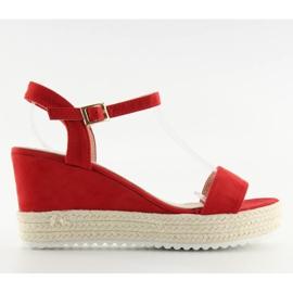 Sandałki na koturnie espadryle czerwone R120P Red