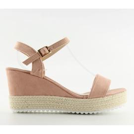 Sandałki na koturnie espadryle różowe pink