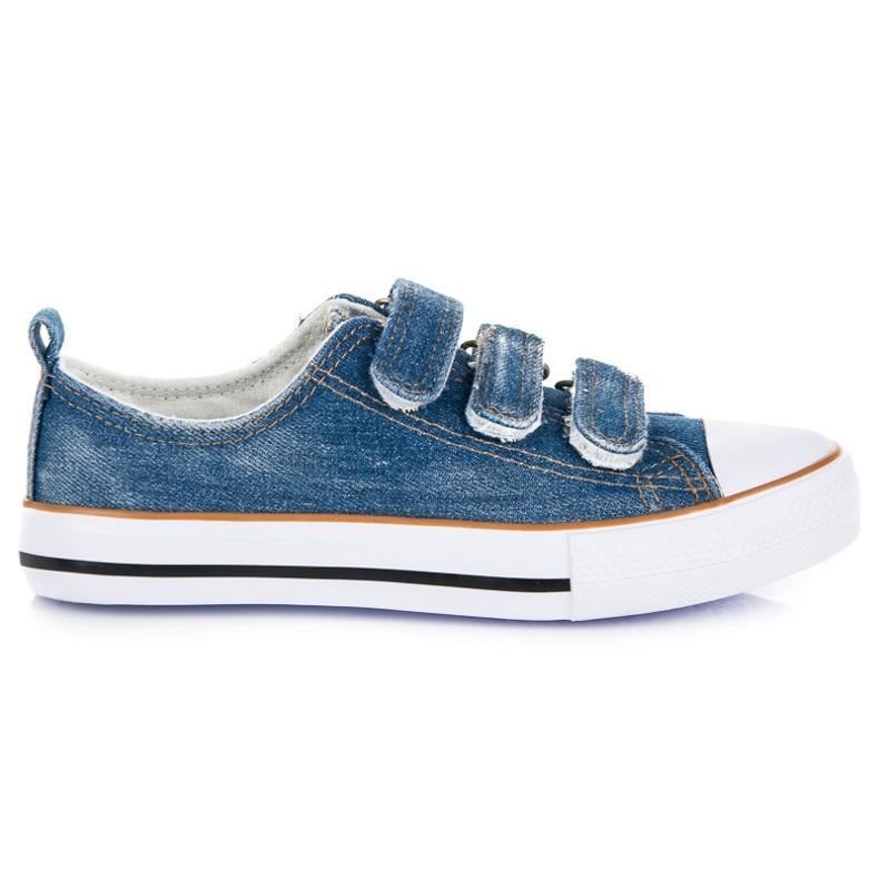 American Club Jeansowe trampki na rzepy niebieskie