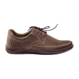 Brązowe Riko buty męskie półbuty dziurkowane 848