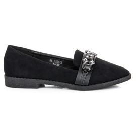 Sweet Shoes Zamszowe mokasyny z kryształkami czarne