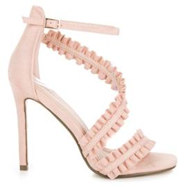 Seastar różowe Sandały Szpilki Z Falbanką