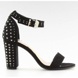 Sandałki na szerokim obcasie czarne black