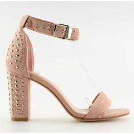 Sandałki na szerokim obcasie różowe pink