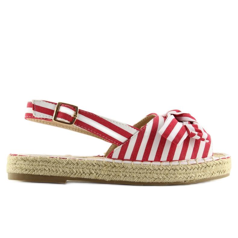 Sandałki espadryle w paski czerwone red