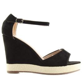 Sandałki na koturnie espadryle czarne black