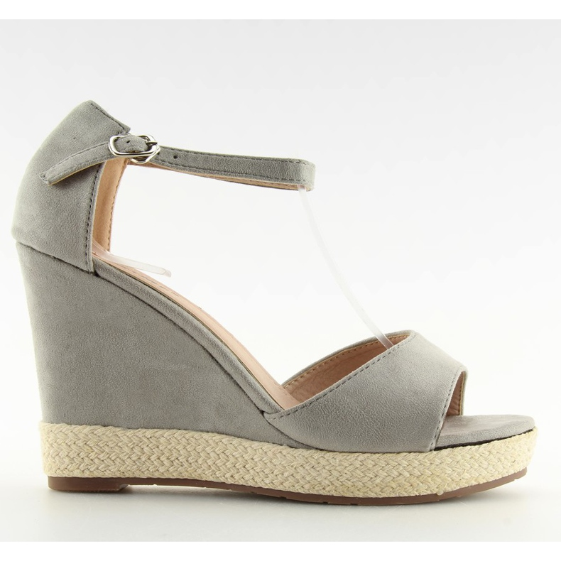 Sandałki na koturnie espadryle szare grey