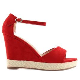 Sandałki na koturnie espadryle czerwone red