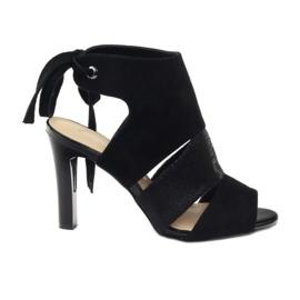 Czarne Sandały zamszowe wiązane Sergio Leone 1489