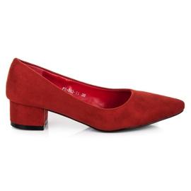 Best Shoes Zamszowe czółenka na niskim obcasie czerwone