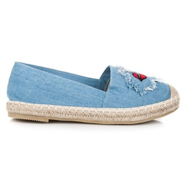 Bestelle Jeansowe espadryle z naszywkami niebieskie