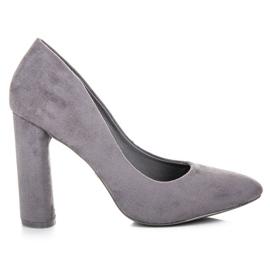 Ideal Shoes Eleganckie czółenka na słupku szare