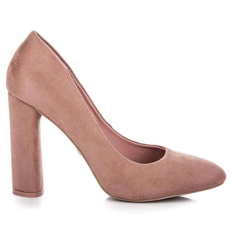 Ideal Shoes Eleganckie czółenka na słupku różowe