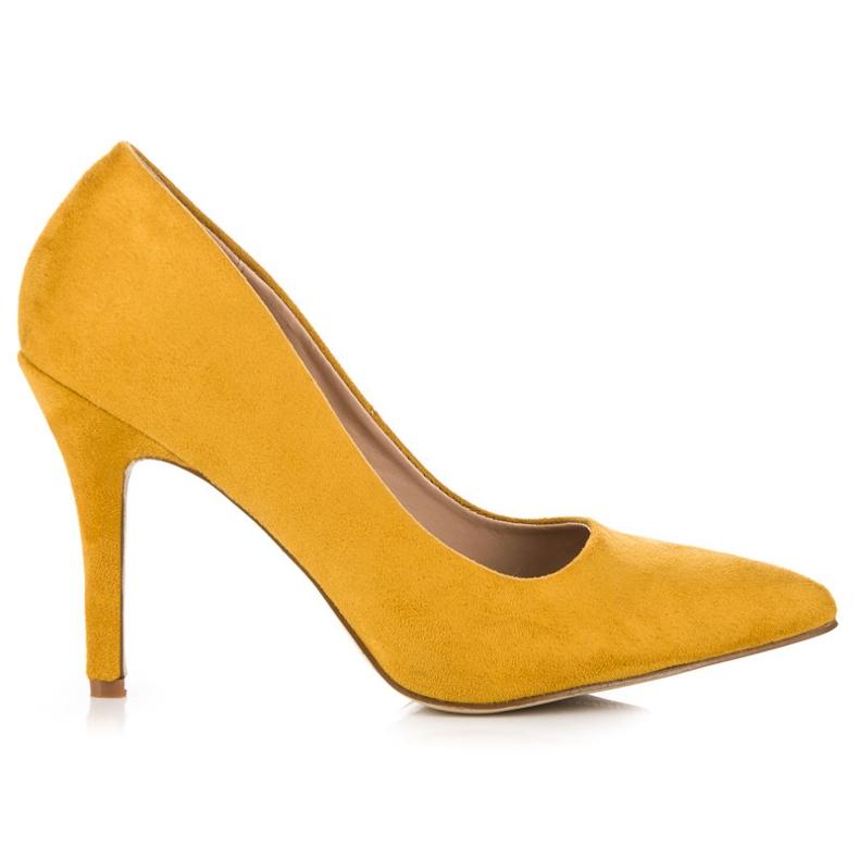 Żółte zamszowe szpilki