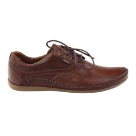 Brązowe Riko buty męskie półbuty casual 844