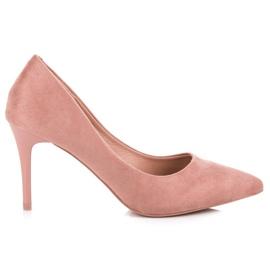 Milaya Zamszowe szpilki różowe