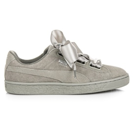 Szare Puma Suede Heart Pebble WN`S