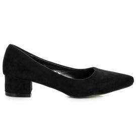 Best Shoes Zamszowe czółenka na niskim obcasie czarne