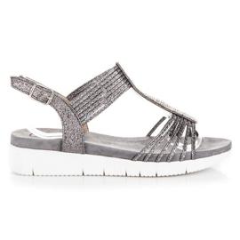 Kylie szare Sandały Z Kryształkami