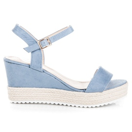 Seastar Sandały espadryle na koturnie niebieskie