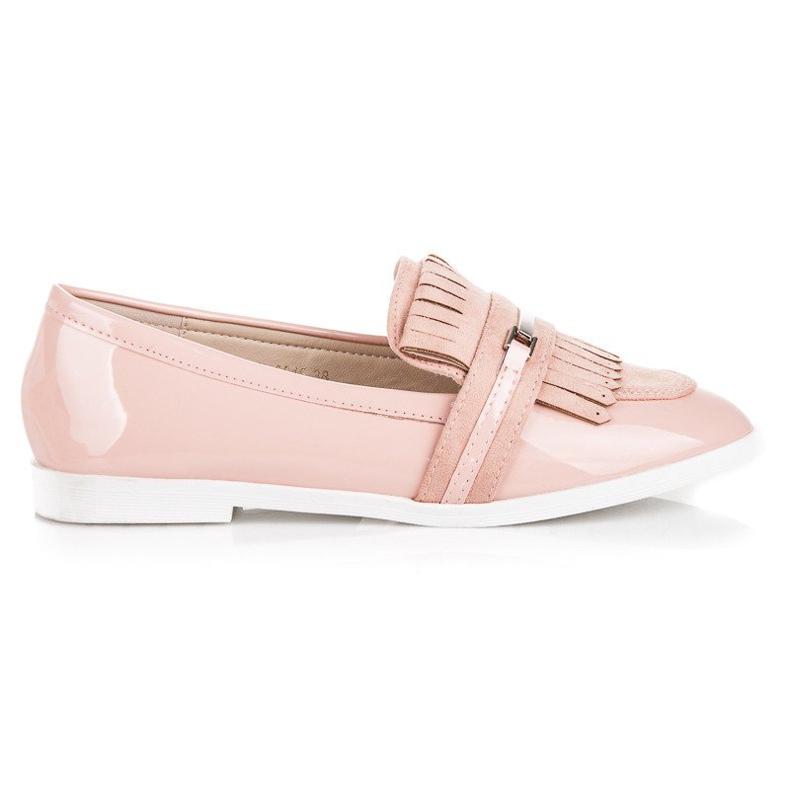 Ideal Shoes Pudrowe lakierowane mokasyny różowe