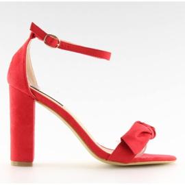 Sandałki na obcasie czerwone 118-11 red