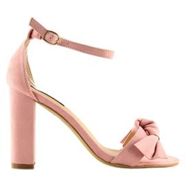 Sandałki na obcasie różowe 118-11 pink