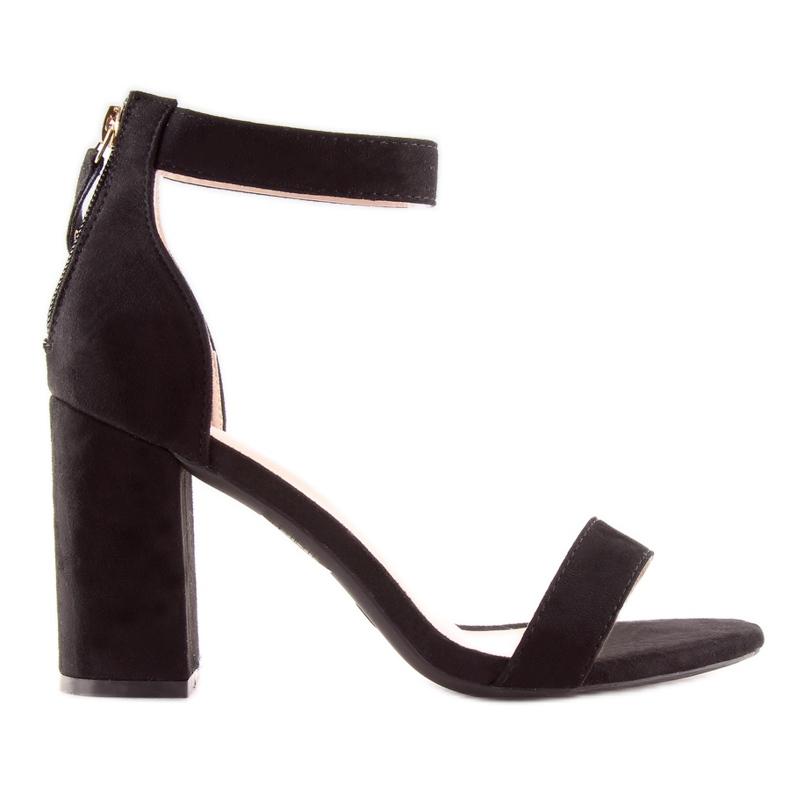 Sandałki nad szerokim obcasie czarne black