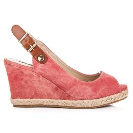 Rax Max czerwone Wygodne Sandały Na Koturnie