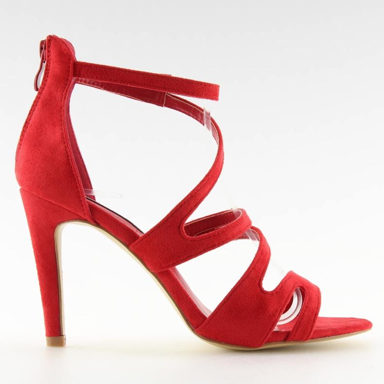 Sandałki na obcasie czerwone 118-15 red