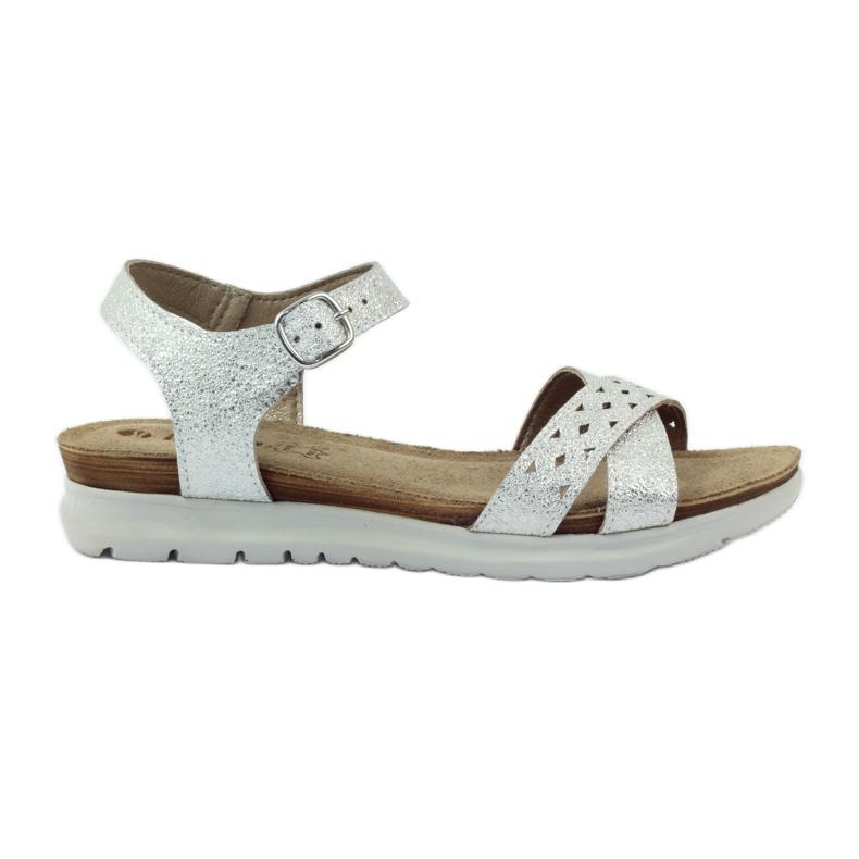 Sandały wkładka skórzana Inblu 038 srebrne szare