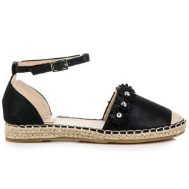 Anesia Paris Czarne sandały espadryle