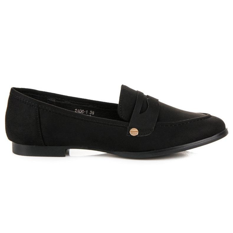 Sweet Shoes Czarne wsuwane mokasyny