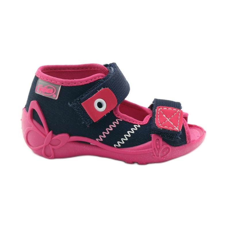 Befado obuwie dziecięce 242P056 granatowe różowe
