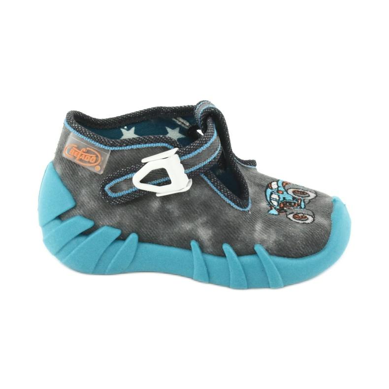 Befado obuwie dziecięce 110P314 szare niebieskie