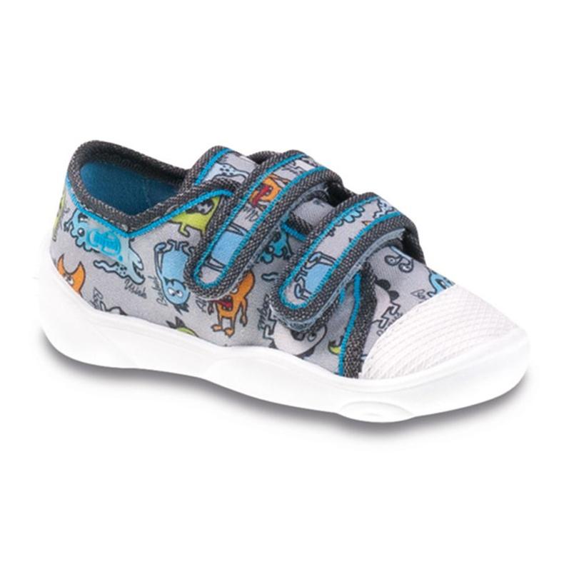 Befado kolorowe obuwie dziecięce 907P095 szare niebieskie