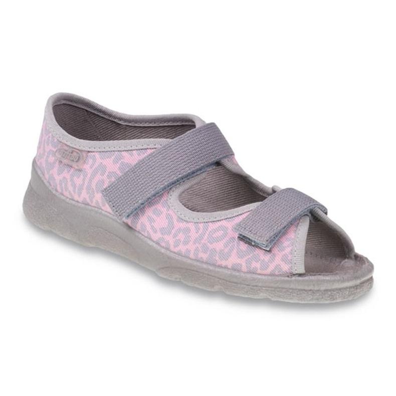 Befado obuwie dziecięce 969Y094 szare różowe