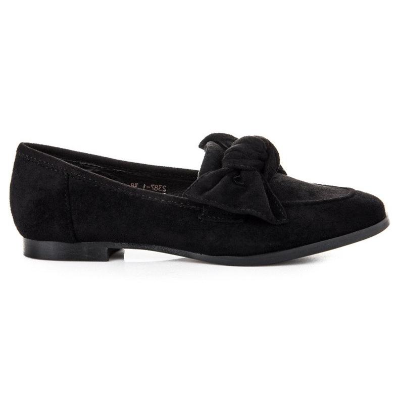 Sweet Shoes Zamszowe mokasyny z kokardą czarne