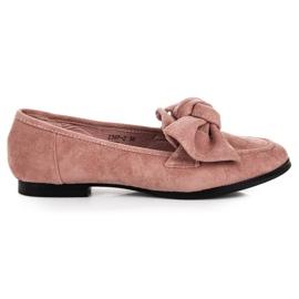 Sweet Shoes Zamszowe mokasyny z kokardą różowe