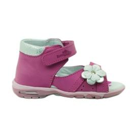 Sandałki na rzepy z kwiatkiem Ren But 097 różowe