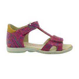 Sandałki na rzepy aztecki wzór Ren But 3296 różowe