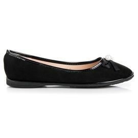 Ideal Shoes Eleganckie Zamszowe Baleriny czarne