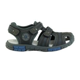 American Club szare Buty dziecięce sandałki z wkładką skórzaną American 93603